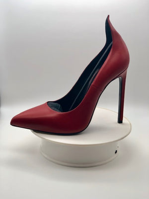 Saint Laurent Paris Red Collar Heels Sz 37.5