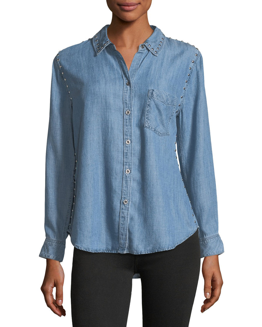 Rails Ingrid Button-Front Chambray Shirt w/Studded Trim Size Small Petit