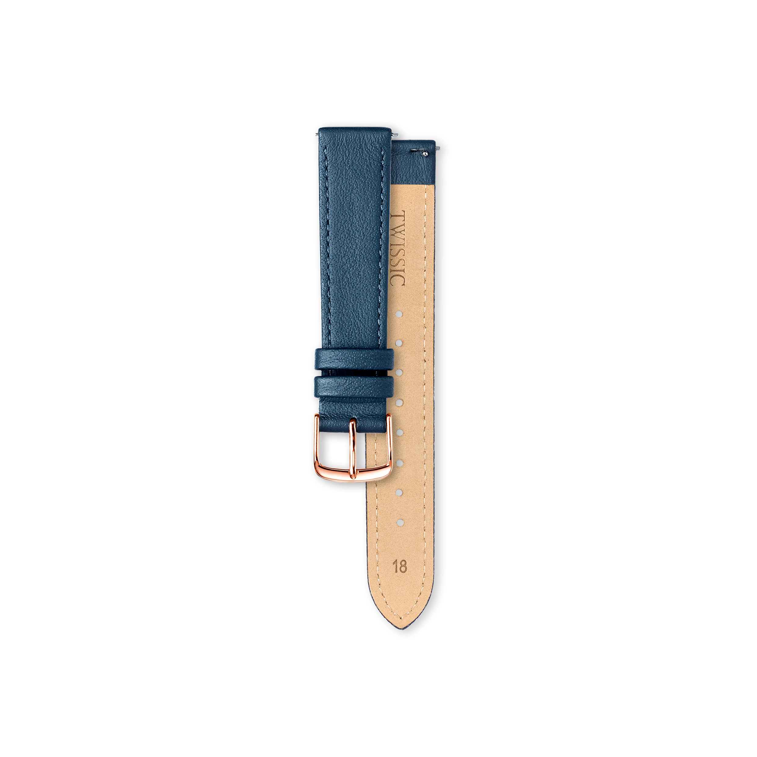 Leather Strap Rosegold- 18mm