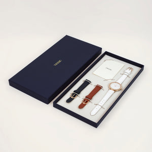Christmas gift set Small (34mm/14mm) - Brick Red & Navy Straps