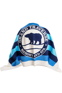 Blue Stripe Logo Beach Towel