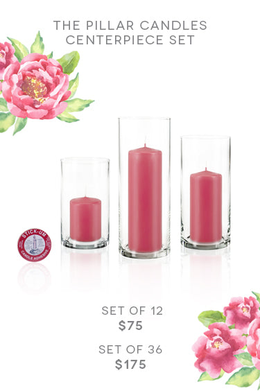The Pillar Candle Centerpiece Set. Set of 12 for $75 USD. Set of 36 for $175 USD