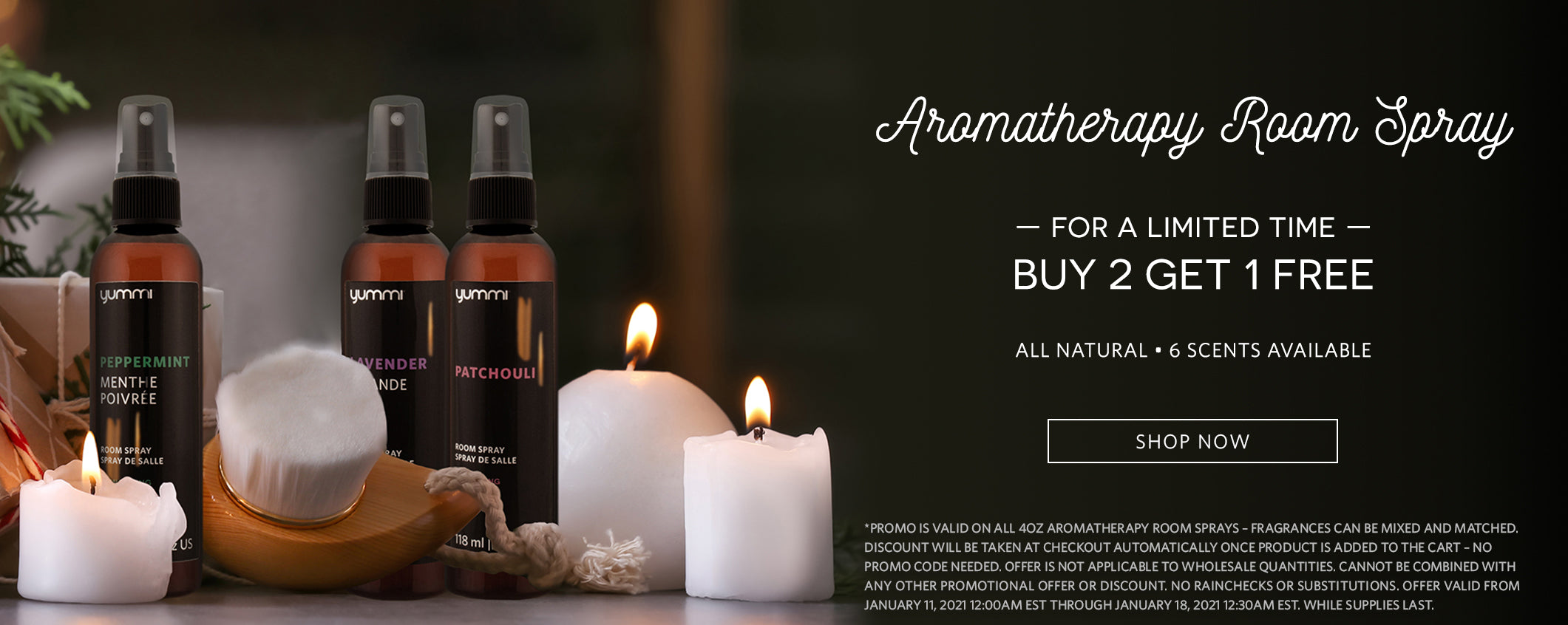 Aromatherapy Room Spray. For a limited time buy 2 get 1 free. All natural, 6 scents available.