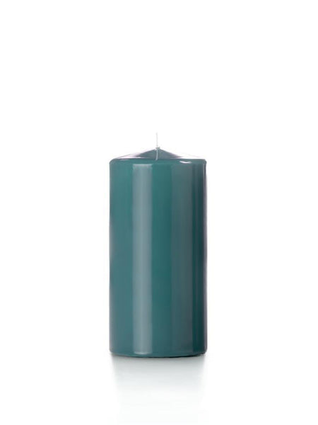 "3"" x 6"" High Gloss Pillar Candles Turquoise"