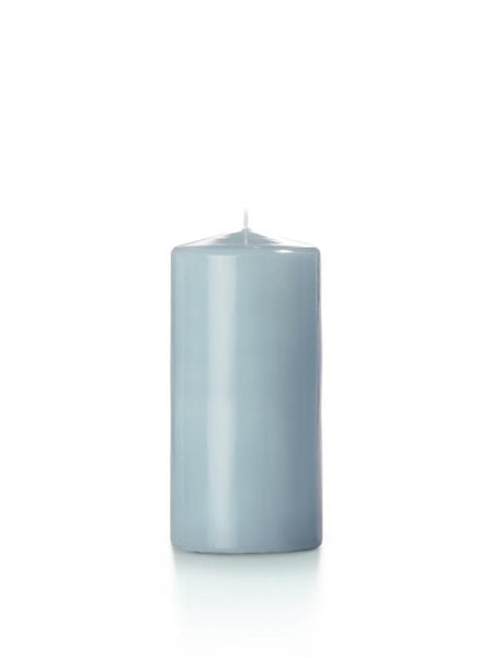 "3"" x 6"" High Gloss Pillar Candles Ice Blue"