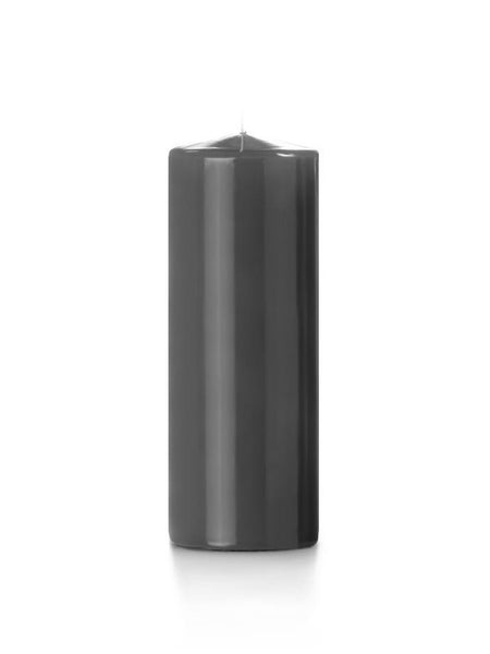 "3"" x 8"" High Gloss Pillar Candles Smoke"