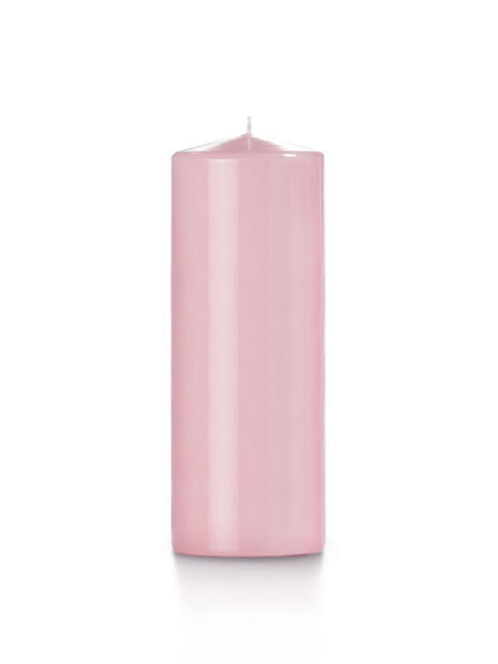"3"" x 8"" High Gloss Pillar Candles Blush"
