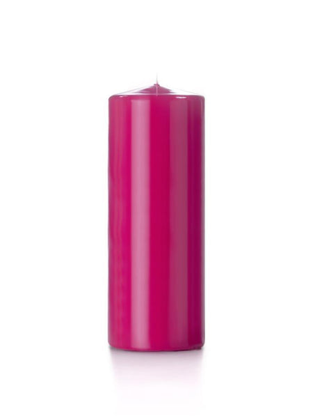 "3"" x 8"" High Gloss Pillar Candles Hot Pink"