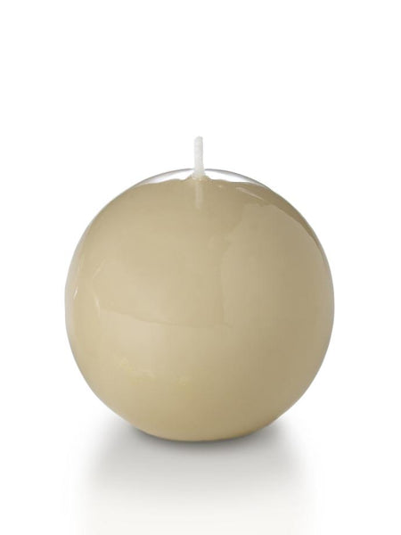 "3"" High Gloss Sphere Candles Sandstone"