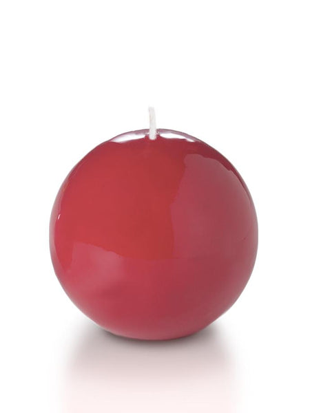 "3"" High Gloss Sphere Candles Red"