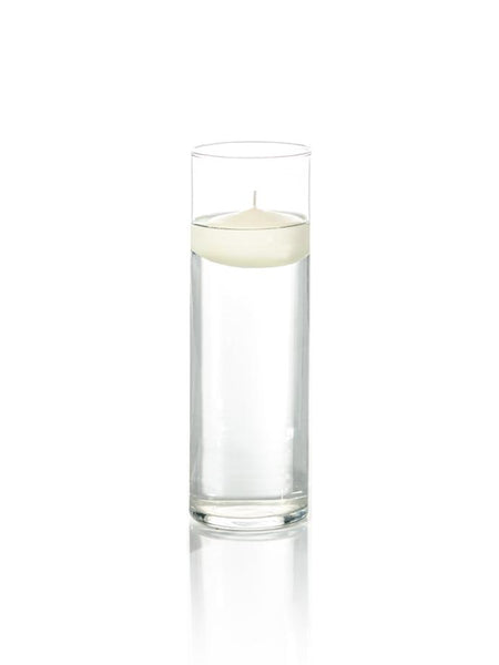 3 Floating Candles And 9 Cylinder Vases Set Of 12 Yummicandles