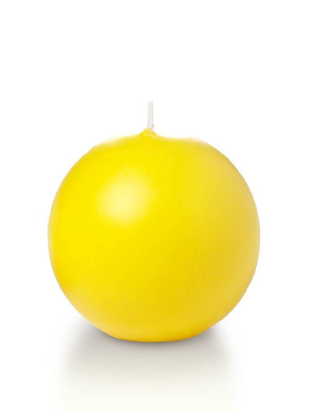 "2.8"" Sphere / Ball Candles Bright Yellow"
