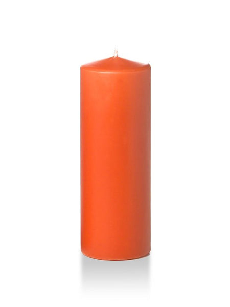 "3"" x 8"" Pillar Candles Bright Orange"