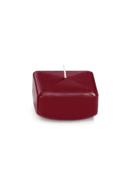 "2.25"" Square Floating Candles Burgundy"