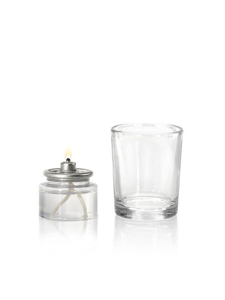 8 Hour Oil Votive Candles & Votive Holders Clear