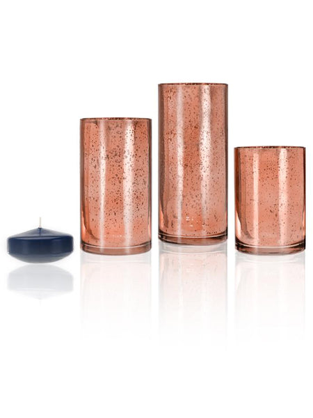 "3"" Floating Candles and Rose Gold Metallic Cylinders Navy Blue"