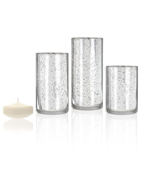 "3"" Floating Candles and Silver Metallic Cylinders Ivory"