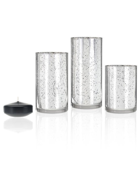 "3"" Floating Candles and Silver Metallic Cylinders Black"