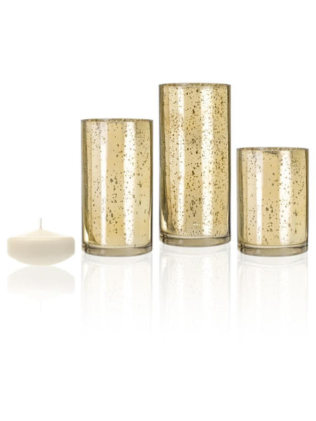 "3"" Floating Candles and Gold Metallic Cylinders Ivory"