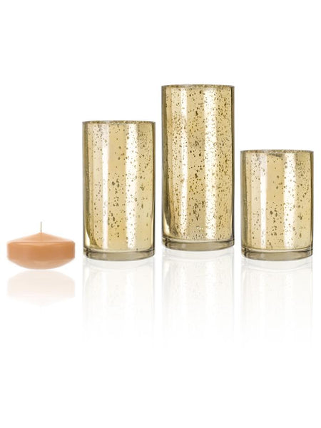 "3"" Floating Candles and Gold Metallic Cylinders Caramel"