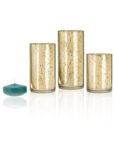 "3"" Floating Candles and Gold Metallic Cylinders Aqua Green"
