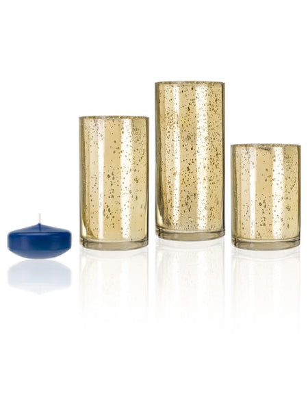 "3"" Floating Candles and Gold Metallic Cylinders Royal Blue"