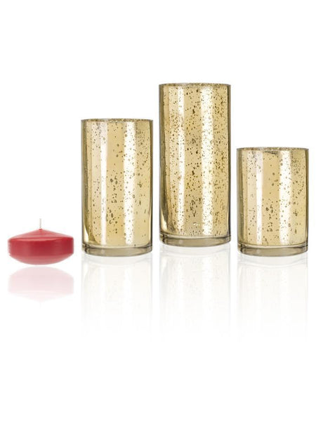 "3"" Floating Candles and Gold Metallic Cylinders Brick"