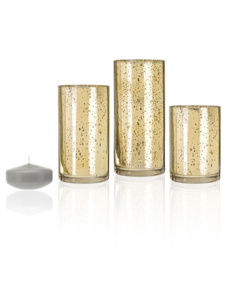 "3"" Floating Candles and Gold Metallic Cylinders Light Gray"