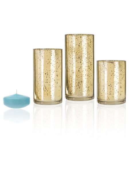"3"" Floating Candles and Gold Metallic Cylinders Robin Egg Blue"
