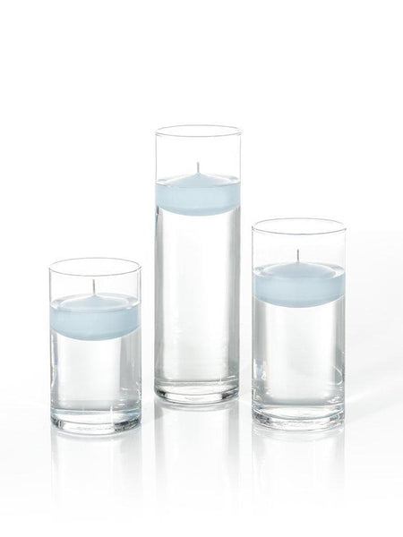"3"" Floating Candles and Cylinder Vases Ice Blue"