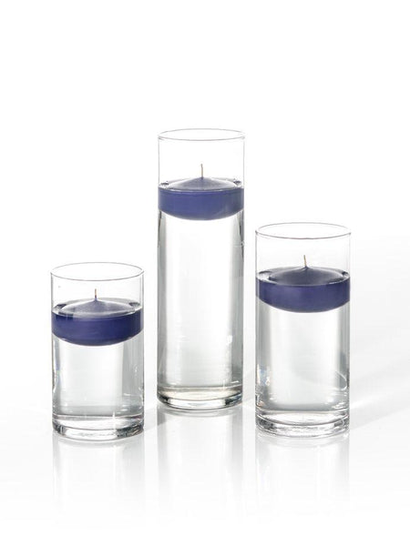 "3"" Floating Candles and Cylinder Vases Navy Blue"