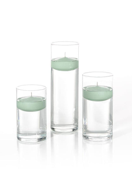 "3"" Floating Candles and Cylinder Vases Sage"