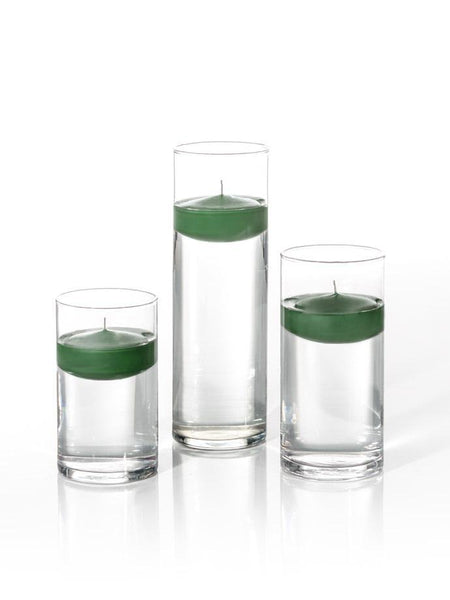 "3"" Floating Candles and Cylinder Vases Hunter Green"
