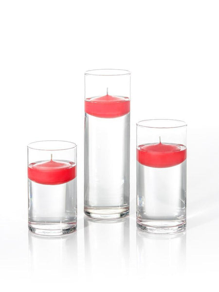 "3"" Floating Candles and Cylinder Vases Ruby Red"