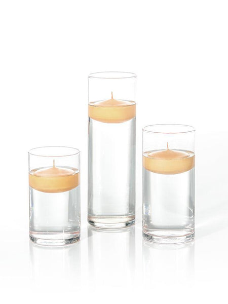 "3"" Floating Candles and Cylinder Vases Caramel"