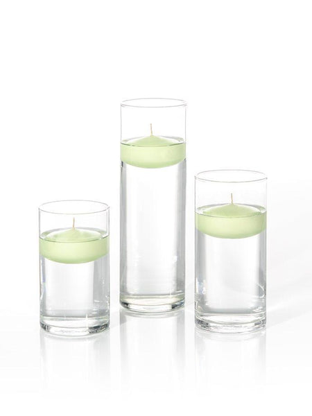 "3"" Floating Candles and Cylinder Vases Celery Green"