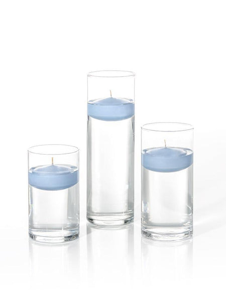 "3"" Floating Candles and Cylinder Vases Periwinkle Blue"