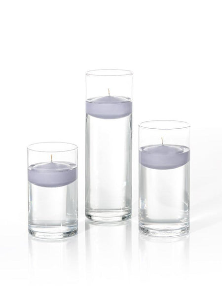 "3"" Floating Candles and Cylinder Vases Lilac"