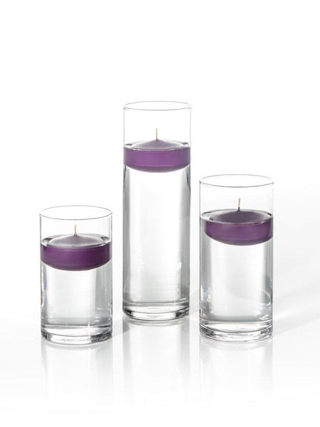"3"" Floating Candles and Cylinder Vases Dark Purple"
