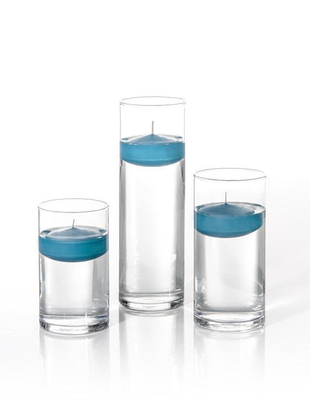 "3"" Floating Candles and Cylinder Vases Turquoise"