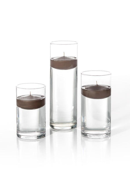 "3"" Floating Candles and Cylinder Vases Chocolate"