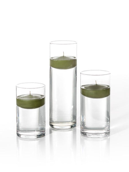 "3"" Floating Candles and Cylinder Vases Green Tea"