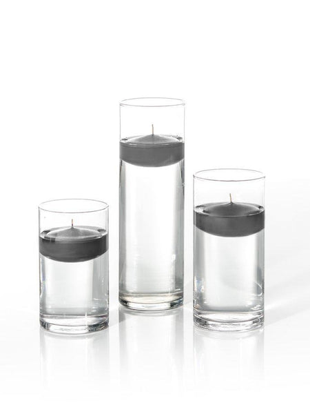 "3"" Floating Candles and Cylinder Vases Gray"