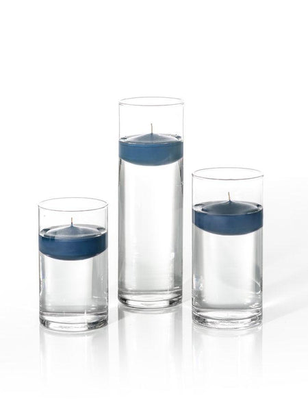 "3"" Floating Candles and Cylinder Vases Sapphire"