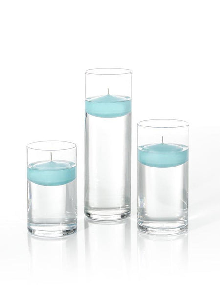 "3"" Floating Candles and Cylinder Vases Robin Egg Blue"