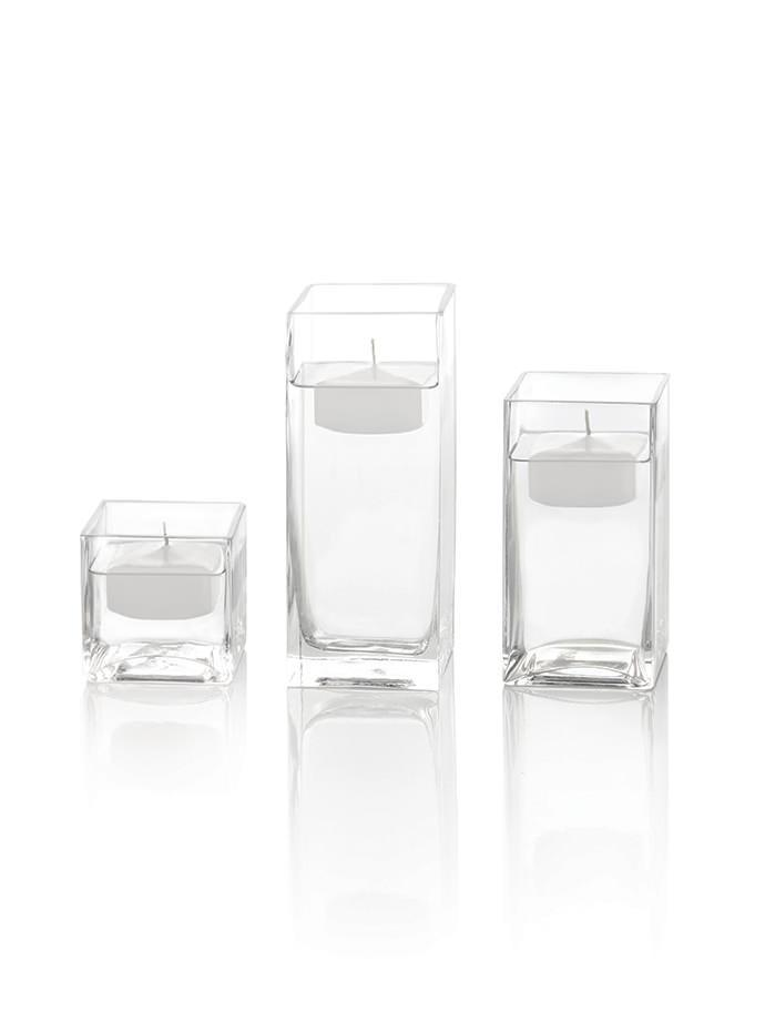 225 Square Floating Candles And Square Vases Set Of 12