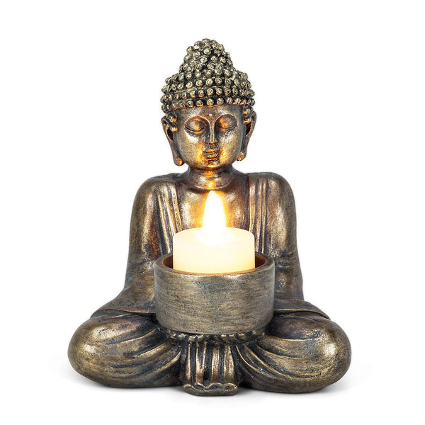 Sitting Buddha Tealight - Antique Silver