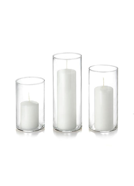 36 Slim Pillar Candles and Cylinder Vases