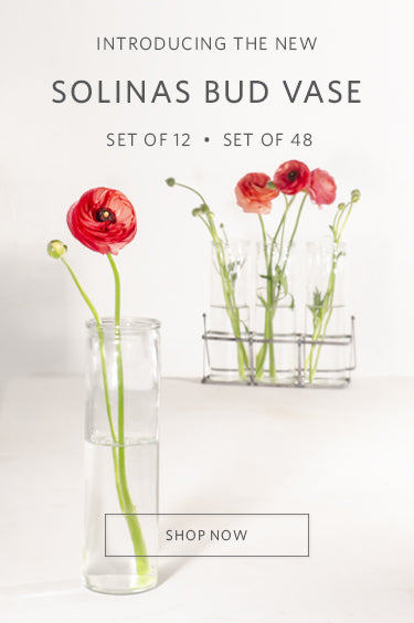 The new Solinas Bud Vase. Available in a Set of 12 or a Set of 48. Shop now.