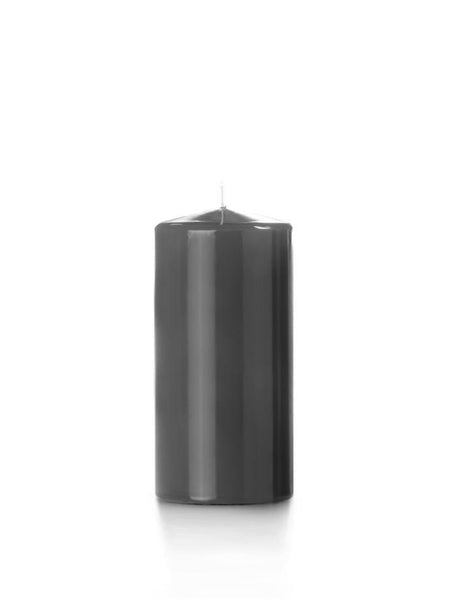 "3"" x 6"" High Gloss Pillar Candles Smoke"